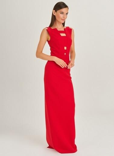 People By Fabrika Pencere Detaylı Abiye Elbise Kırmızı